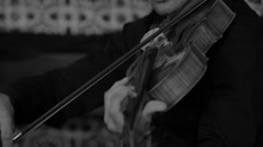 Musician playing the violin B&W  Stock Footage
