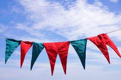 Hanged pennants Stock Photos