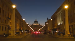 Saint Peter cathedral twilight Vatican place basilica San Pietro Rome landmark  - stock footage