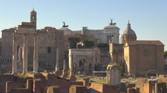 Aerial view Roman Forum Rome downtown sunny day antique temple imperial facade  Stock Footage