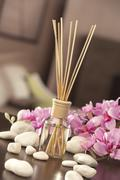 air freshener sticks at home with flowers and ou of focus backgr - stock photo