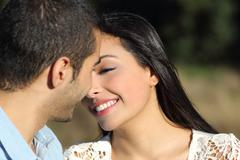 Arab casual couple flirting ready to kiss with love Stock Photos