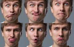 Big head guy makes crazy face emotions - stock photo