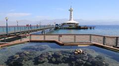 Eilat underwater observatory , Red Sea. Israel Stock Footage