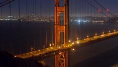Golden Gate Bridge Night Time Lapse Stock Footage