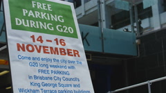 Free parking during G20 4K Stock Footage