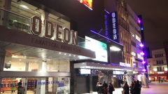 Famous Odeon Movie theatre for film premieres at London Leicester Square - stock footage
