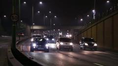 Highway Headlights At Night Stock Footage