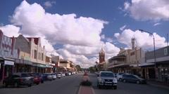 Broken Hill main street with light traffic Stock Footage