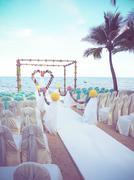 wedding venue on the beach - stock photo