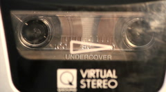 Close Up Cassette Tape Deck Running Stock Footage
