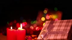 Candles and gift box Stock Footage