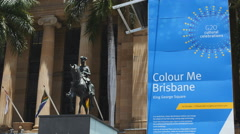 Brisbane official building with G20 poster outside 4K - stock footage