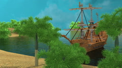 Sailing ship pirates cove Stock Footage