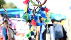 Indigenous  wind spinner - street market, Sao Paulo, Brazil Stock Footage
