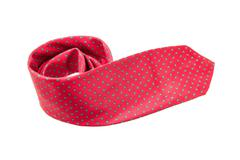 Red with green dots business neck tie Stock Photos