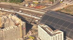 Berlin Hauptbahnhof 2012 with ICE, Aerial shot Stock Footage