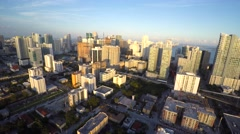 Aerial video brickell cityscape at dusk 4k Stock Footage