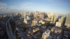 Aerial brickell cityscape panoramic 4k video - stock footage