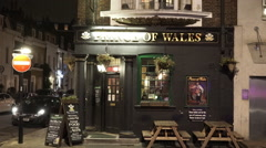 Prince of Wales Pub by night - stock footage