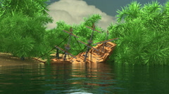 Ship wrecked pirate ship island Stock Footage