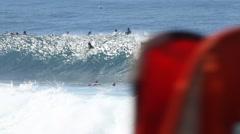 Surfer getting barreled Stock Footage
