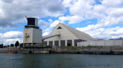 Large Industrial plant view from water 4 Stock Footage