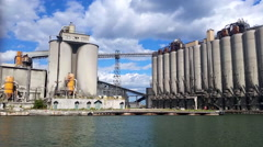 Large Industrial plant view from water 2 Stock Footage