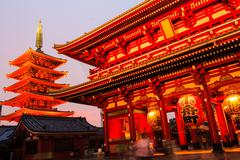 Sensoji-ji Red Japanese Temple in Asakusa, Tokyo, Japan Stock Photos