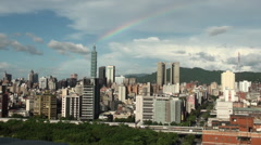 Rainbow and Taipei 101 in Taiwan Stock Footage