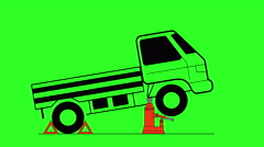 Hydraulic car jack to lift and repair vehicle. green screen background. 4k an Stock Footage