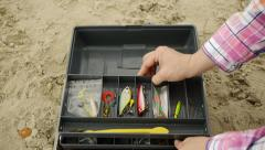Woman With Fishing Tackle Box Stock Footage