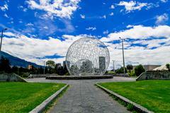 metal sphere sculpture in park Quito Ecuador South America - stock photo
