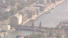 Oberbaumbrücke, Aerial shot, Zoom Out Stock Footage