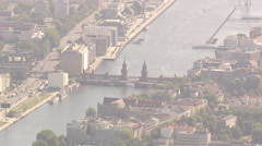 Oberbaumbrücke, Aerial shot Stock Footage