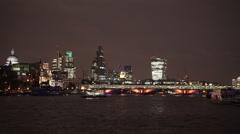 City of London skyline with new Blackfriars railway bridge Stock Footage
