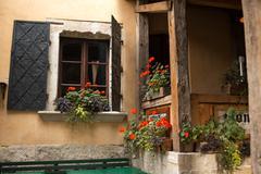 tuscan windows - stock photo