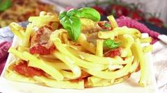 Homemade pasta bake (loopable) Stock Footage