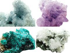 Celestite amethyst diopside rock quartz geode geological crystals Stock Photos