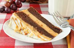Peanut butter brownie cheesecake Stock Photos