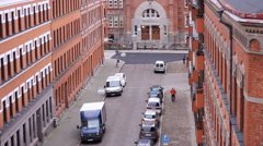 Vintage old buildings street time lapse Malmo Stock Footage