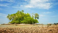 Small tropical island at low tide Stock Footage