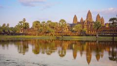 Afternoon view of angkor wat from across the moat Stock Footage