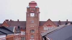 Vintage  old buildings with clock , Malmo Stock Footage