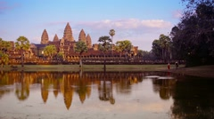 Angkor wat temple in cambodia from across the moat Stock Footage