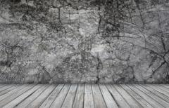 Grunge wallpaper with wooden table Stock Photos