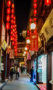 Fang bang zhong lu old city at night shanghai china Stock Photos