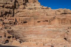 Roman theater arena in nabatean city of  petra jordan Stock Photos