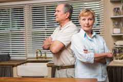 Senior couple having an argument - stock photo