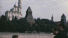 Moscow 1970s: cityscape and detail of grand kremlin palace Stock Footage